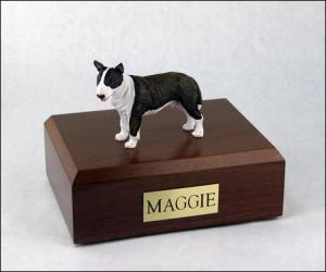 Bull Terrier, Brindle/White  Standing Dog Figurine Cremation Urn