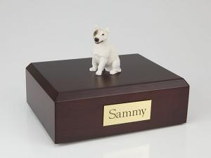 Bull Terrier Sitting White- Dog Figurine Cremation Urn