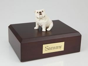 Bulldog  White Ears Up Sitting Dog Figurine Cremation Urn
