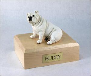Bulldog  White Ears Down Sitting Dog Figurine Cremation Urn