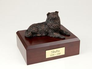 Collie, Bronze Laying Dog Figurine Cremation Urn