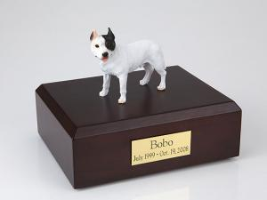 Pit Bull Terrier, White  Standing Dog Figurine Cremation Urn