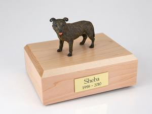 Staffordshire Bull Terrier, Brindle Dog Figurine Cremation Urn