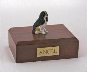 Cavalier, Tri-Color - Sitting Dog Figurine Cremation Urn