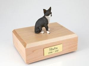 Chihuahua, Black/White Sitting Dog Figurine Cremation Urn