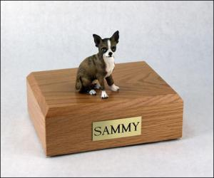 Chihuahua, Brindle Sitting Dog Figurine Cremation Urn