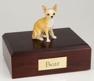 Chihuahua, White/Tan Dog Figurine Cremation Urn