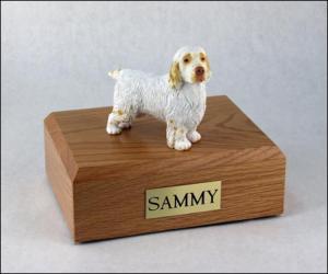 Clumber Spaniel Standing Dog Figurine Cremation Urn