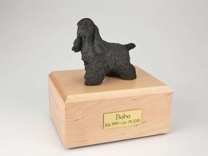 Cocker Spaniel, Black Standing Dog Figurine Cremation Urn