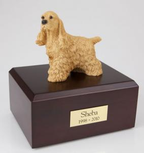 Cocker Spaniel Buff Standing Dog Figurine Cremation Urn