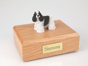 Cocker, Black/White - Standing  Dog Figurine Cremation Urn