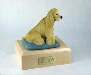 Cocker, Blond - Sitting  Dog Figurine Cremation Urn