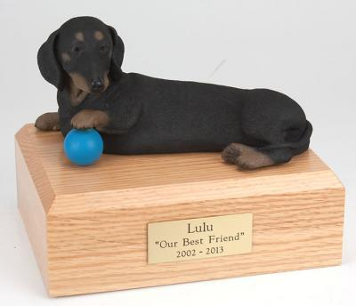 Dachshund, Black Playing  Dog Figurine Cremation Urn