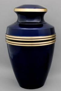 Deep Blue Brass Cremation Urn