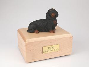 Dachshund, Long-haired Black Dog Figurine Cremation Urn