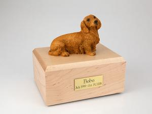 Dachshund, Long-haired Brown Dog Figurine Cremation Urn