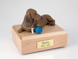 Dachshund, Red Playing Dog Figurine Cremation Urn