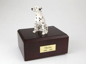 Dalmatian, White Sitting Dog Figurine Cremation Urn