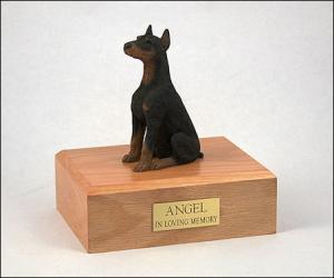 Doberman Dog Figurine Cremation Urn