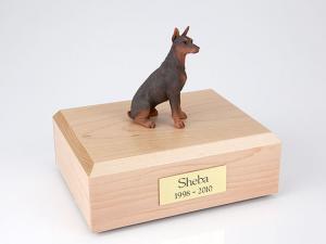 Doberman, Red Sitting  Dog Figurine Cremation Urn