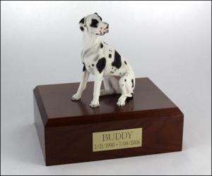 Great Dane, Harlequin - ears down  Dog Figurine Cremation Urn