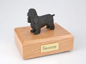 English Cocker, Black Standing Dog Figurine Cremation Urn