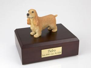 English Cocker, Blond Standing Dog Figurine Cremation Urn