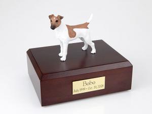 Fox Terrier, Smooth-Brown/White  Dog Figurine Cremation Urn