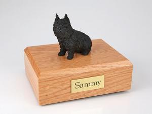 Brussels Griffon, Black Dog Figurine Cremation Urn