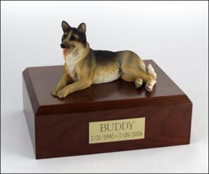 German Shepherd Laying Dog Figurine Cremation Urn
