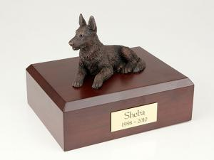 German Shepherd Bronze  Dog Figurine Cremation Urn