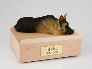 German Shepherd, Tan/Black  Dog Figurine Cremation Urn