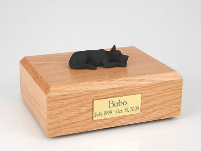 Great Dane, Black - ears up Laying Dog Figurine Cremation Urn