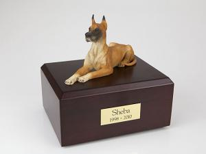 Great Dane, Fawn Laying Dog Figurine Cremation Urn