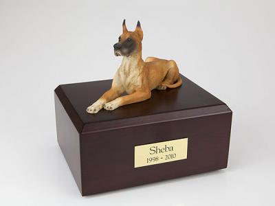 Great Dane, Fawn Laying Dog Figurine Cremation Urn