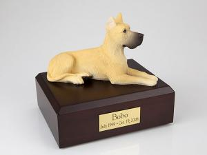 Great Dane, Fawn Golden Laying Dog Figurine Cremation Urn