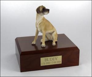 Great Dane, Fawn, ears down Sitting Dog Figurine Cremation Urn