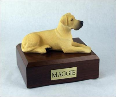 Great Dane, Fawn, ears down Laying Dog Figurine Cremation Urn