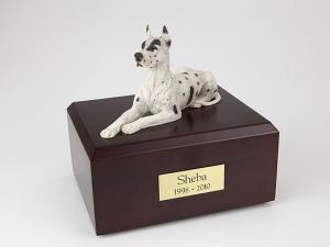 Great Dane, Harlequin Dog Figurine Cremation Urn