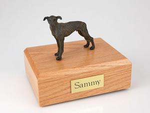 Greyhound, Brindle Standing Dog Figurine Cremation Urn