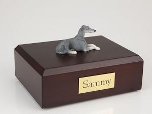 Greyhound, Grey Laying Dog Figurine Cremation Urn