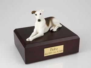 Greyhound, White/Brindle Dog Figurine Cremation Urn
