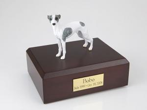 Whippet, White/Spot Dog Figurine Cremation Urn