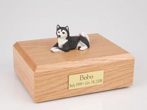 Husky, Black Laying Dog Figurine Cremation Urn