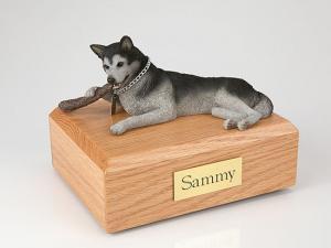 Husky, Black/White  Dog Figurine Cremation Urn