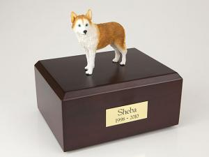 Husky, Red - blue eyes  Dog Figurine Cremation Urn