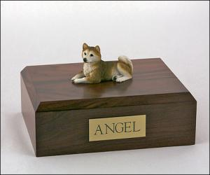 Husky, Red Laying Dog Figurine Cremation Urn