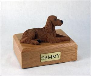 Irish Setter Laying Dog Figurine Cremation Urn