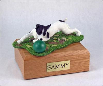 Jack Russell Terrier, Black-White Laying Dog Figurine Cremation Urn