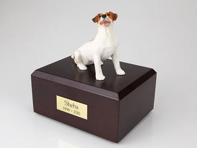 Jack Russell Terrier, Brown Sitting  Dog Figurine Cremation Urn